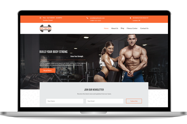 Website design for gym in london