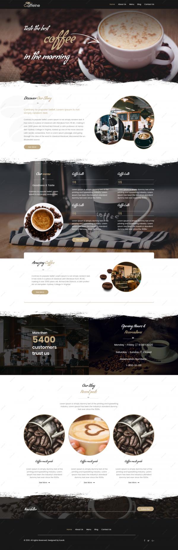 premium website coffee template