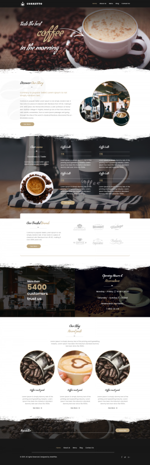 Website Theme for Cafe and Restaurants