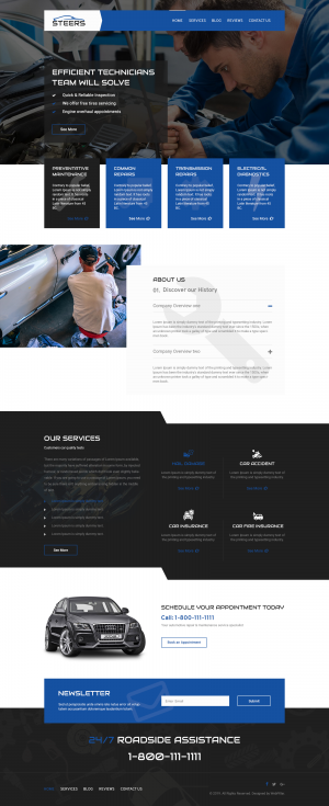 Automotive Website Template for Garages